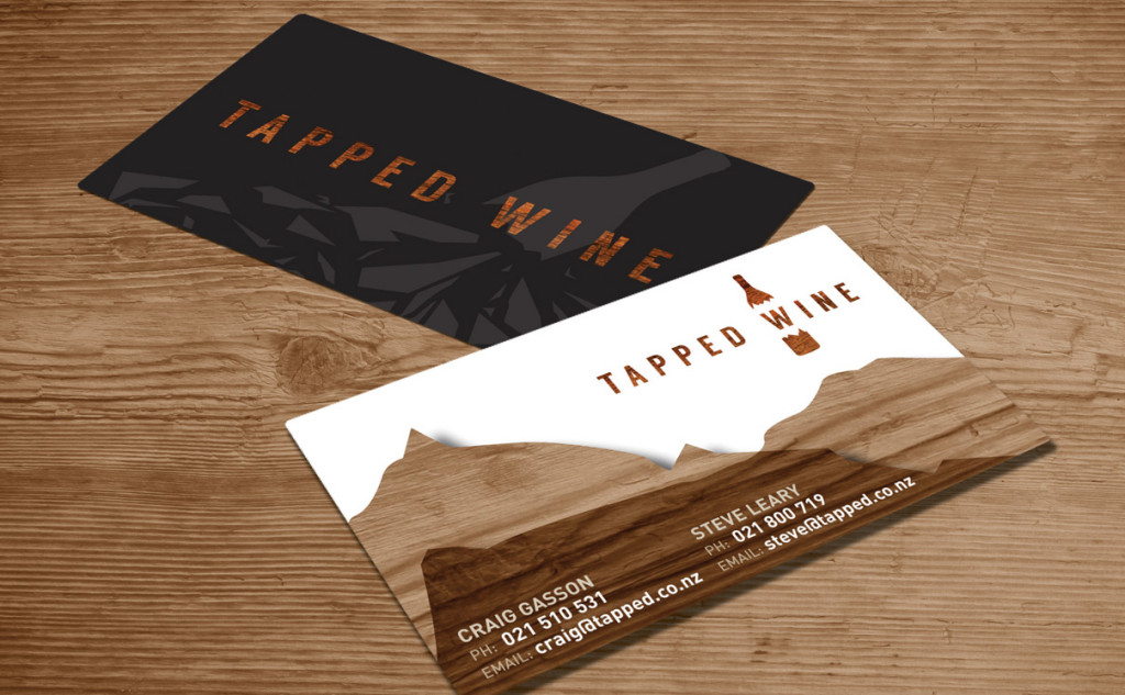 business card design for tapped wine